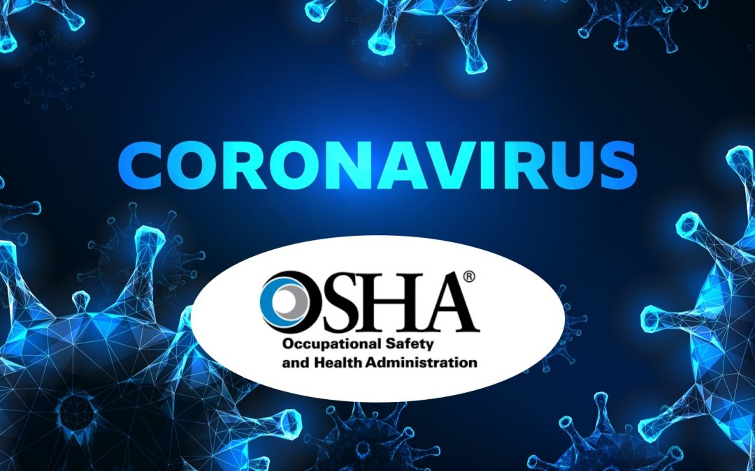 3d render. conceptual of pandemic epidemic virus for medical health vaccine research. microscopic magnification of green coronavirus with OSHA's logo right below it