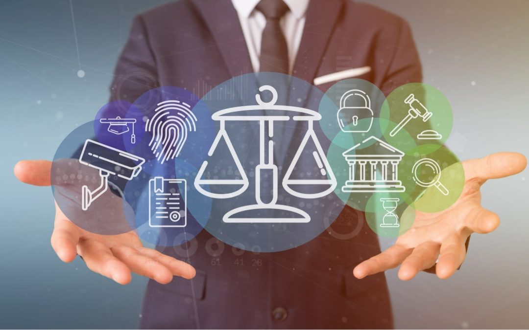 a person holding a set of justice law icon bubble with data 3d rendering